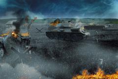 Tank battle in the burned-out field Piirros