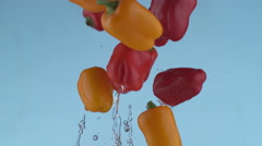 Peppers flying in slow motion, shot with Phantom Flex 4K at 1000 frames per Stock Footage