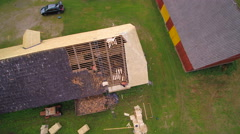 Aerial shot of the cabin house roof Stock Footage