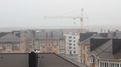 Roofs multi-storey Apartment houses covered by fog Stock Footage