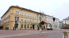 View on the main square in Szeged Stock Footage