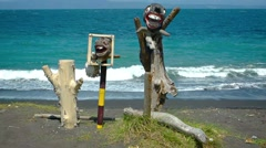 Interesting Religious Sculptures on a Beach in Bali, Indonesia Stock Footage