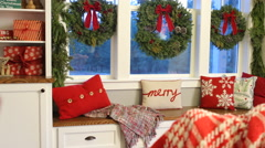 Interior shot of home decorated for Christmas Stock Footage