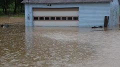 Flood Waters Engulf Isolated Garage Stock Footage