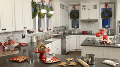 Interior shot of kitchen decorated for Christmas Stock Footage