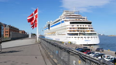 Huge cruise ships  are visiting Copenhagen Stock Footage