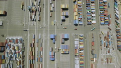 Aerial view of Los Angeles shipping port docks. Stock Footage