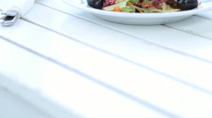 Bowl of fresh vegetable salad Stock Footage
