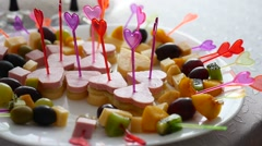 Video canapes with olives in a bowl on a table Stock Footage