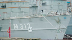 The M312 Naval ship on the port Stock Footage
