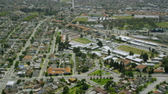 Helicopter Aerial view of Californian School or College Stock Footage