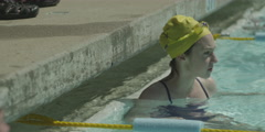 Teenage girl in swimming pool Stock Footage
