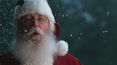 Santa Claus laughing with snow in slow motion, Phantom Flex 4K Stock Footage