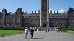 Tourism Moving Shot at Parliament in Ottawa Canada Stock Footage