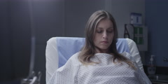 Pregnant woman lying on operation bed for ultrasound scan test Stock Footage
