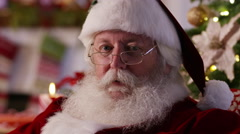 Closeup portrait of Santa Claus Stock Footage