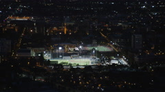 Aerial view of Los Angeles baseball stadium, California at night Stock Footage