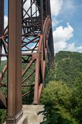 Metal structure of the New River Gorge Bridge in West Virginia Stock Photos