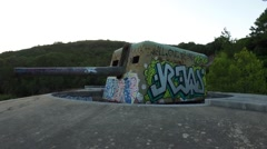 Coast artillery with graffiti- Outao Portugal Stock Footage
