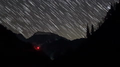 Мovement of the stars in the valley of the river Aapsta, Abkhazia. Full HD Stock Footage