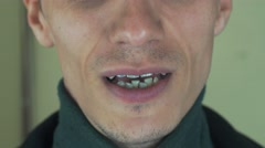 Adult man pronounce words in front camera. Mouth. Teeth. Bristle. Singing song Stock Footage