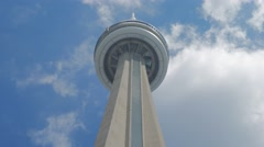 CN Tower Toronto Low Angle Tourism Closeup Blue Sky Clouds Elevator Stock Footage