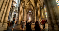 Hyper Lapse Tour through the Cologne Cathedral Stock Footage