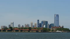 New Jersey Skyline and Ellis Island 4k Stock Footage