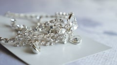 Tiara for the bride silver on video table Stock Footage