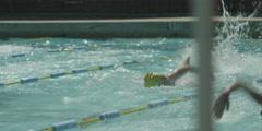 Teenage girl swimming in swimming pool Stock Footage