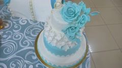 Wedding cakebeautiful wedding cake video is the restaurant Stock Footage