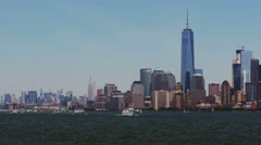 New York City Skyline With Boats. All ID Info Removed! Stock Footage