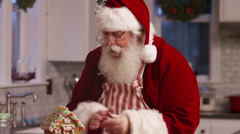 Portrait of Santa Claus in kitchen Stock Footage