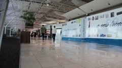 Unidentified people  inside the international airport of cape town in south a Stock Footage