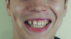 Young man sing song pronounce words in front camera. Open mouth. Funny Stock Footage
