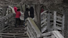 People Climbing The Stairs At The Lonely Cypress Stock Footage