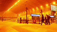 Interior of the Trainstation Nyugati Palyaudvar in Budapest Stock Footage