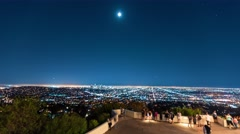 Time-lapse of people visiting the Griffith Observatory Stock Footage
