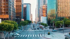 Time-lapse at a busy intersection in Downtown LA Stock Footage