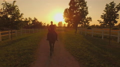 AERIAL: Flying close above young girl horseback riding big horse on a ranch Stock Footage