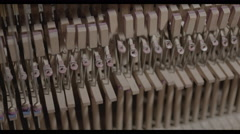View of Piano interior, keys and hammers 4K 60fps Stock Footage