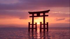 Biwako lake with morning glow and Shirahige shrine Stock Footage