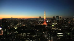 Tokyo tower from World trade center building Stock Footage