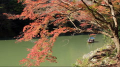 Arashiyama with autumn leaves and Hozugawakudari Stock Footage