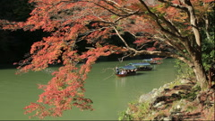 Arashiyama with autumn leaves and Hozugawakudari Stock Footage
