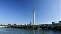 Sumida river and Tokyo sky tree from Asakusa Stock Footage