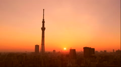 Tokyo sky tree from Asakusa in the morning glow Stock Footage