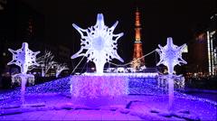Sapporo white illumination and Sapporo TV tower Stock Footage