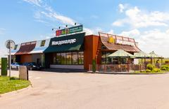 McDonald's fast food restaurant at the highway Moskva - St. Petersburg Stock Photos