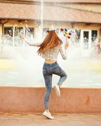 Girl teenager Spinner Array Tool back Stock Photos